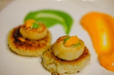 sea scallops, potato cakes, carrot and pea purees