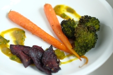 broccoli, beets, carrots, yellow curry