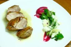Muscovy duck, beet greens and pickled fennel salad, ricotta, beet and fennel purees